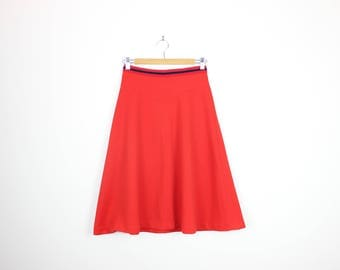 Retro Red A Line Midi High Waisted Skirt Nautical S