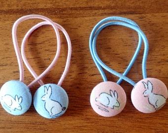 Bunny Fabric Button Hair Ties/Rabbit Hair Elastics