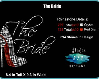 Bride Rhinestone Transfer Template Pattern Stencil - Party - Sassy - Bachelorette - Bridal Wedding -  DOWNLOAD ONLY - DIY - Sticky Flock