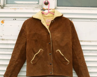 Vintage 1970s Leather Suede Shearling Jacket