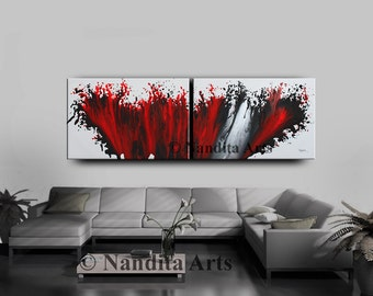 """Red Wall Art Painting 72"""" x 24"""" Abstract painting, Modern Art, LARGE modern art, abstract art for sale, original fine art collectibles"""