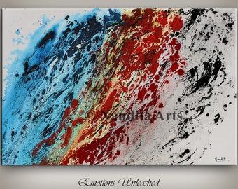 Original Abstract Art, Modern Fine Art Oil PAINTINGS - BLUE MODERN art on canvas abstract modern fine art Contemporary Deco Art - Nandita