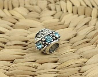 Pandora bead•Pandora bracelet bead•Metal pandora beads•Light blue pandora charm•Pandora crystal bead•Blue crystal pandora• Pandora charm
