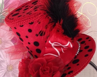 """Mad Hatter Felt Top Hat, Whimsical Polka Dot Fascinator, Queen of Hearts, Alice in Wonderland Birthday, Tea Party, Bridal Shower (4.5"""" Tall)"""
