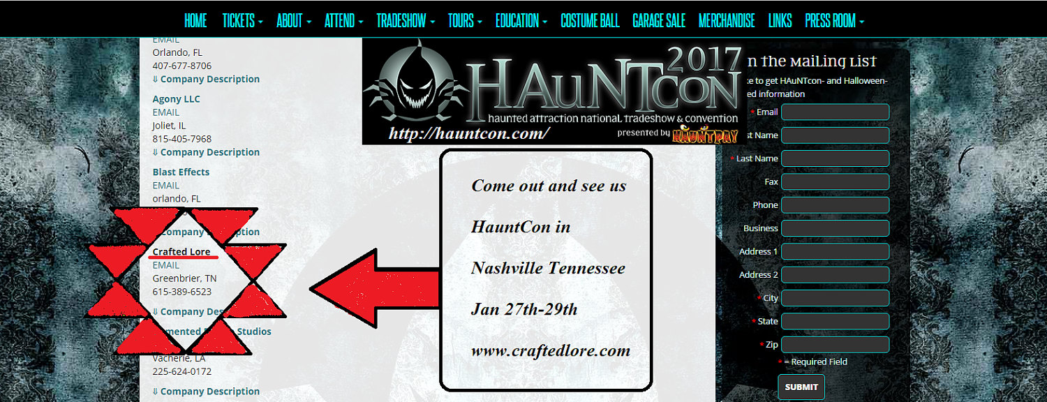 Crafted Lore at HauntCon Jan 26th-30th
