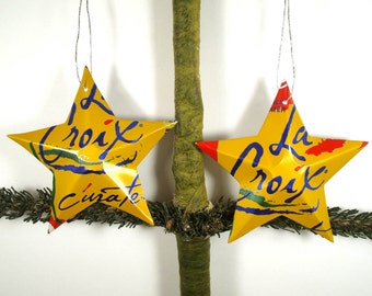La Croix Curate Cherry Lime Sparkling Water Soda Can Aluminum Stars - 2 Recycled Christmas Ornaments or Gift Toppers
