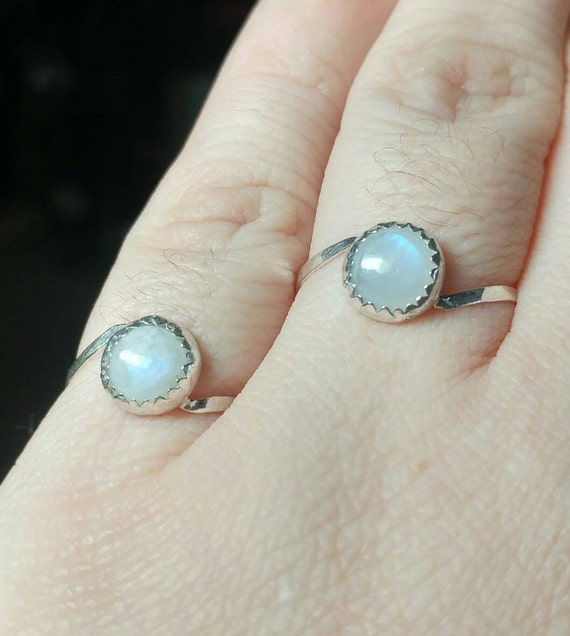 Moonstone Ring Set | Sterling Silver Ring Set Sz 9.5 & Sz 6.75 | Moonstone Rings Sterling Silver | Wedding Ring Set | Couples Ring Set