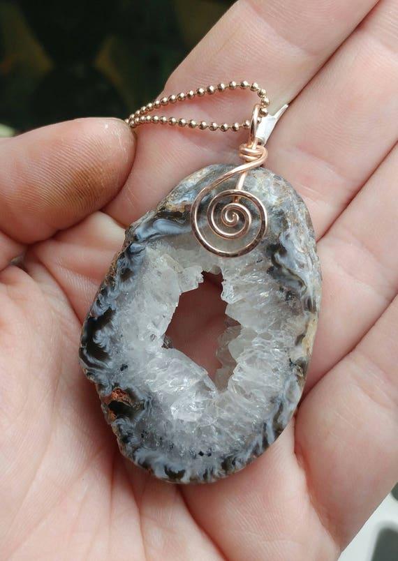 Geode Necklace | 14kt Rose Gold Filled Pendant | Raw Crystal Pendant | Geode Slice Necklace | Geode Pendant
