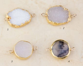 Druzy or Dendritic Opal Gold Filled Wire Wrapped Link Connector Pendant, Priced per Piece, White, Light Gray Druzy, Dendritic Opal, CM56GC