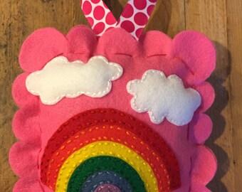 Rainbow Fairy Tooth Fairy Pillow.  Girls Tooth Fairy Pillow. Girls Accessory