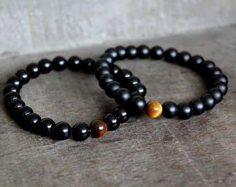 Black Agate Tiger Eye Stretch Bracelet