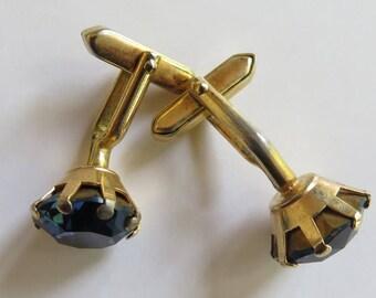 Blue Glass Cufflinks //Mens' Cufflinks //Vintage Cufflinks