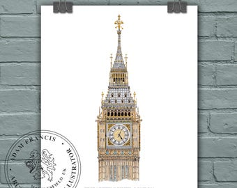 BiG Ben | Elizabeth Tower | Houses of Parliament | Westminster | London. Very detailed illustration and watercolour,  prints available.