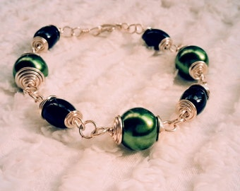Green and Black and Silver Bracelet
