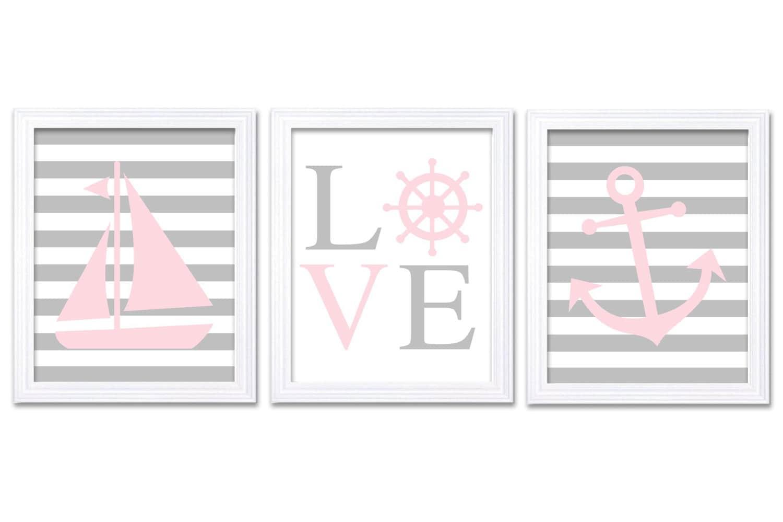 Pale Pink Gray Grey Nautical Nursery Art LOVE Set of 3 Prints Stripe Child Art Kids Room Wall Art Ba