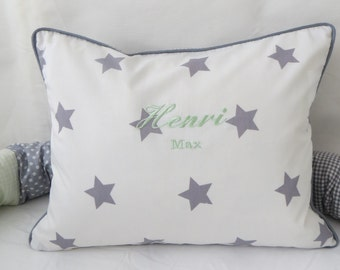 Pillow/cushion  Stars/Vichycheck and name, personalized