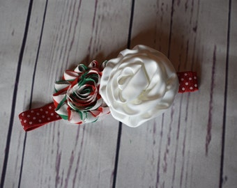 Red, White, and Green Christmas Headband Hair Bow