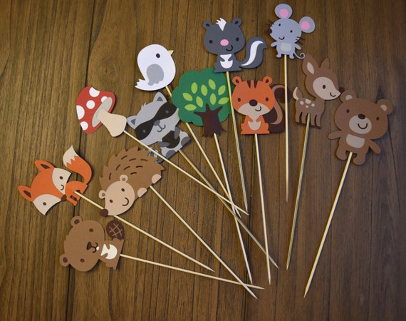 Woodland Animals Centerpieces or cake toppers, Woodland Theme Party