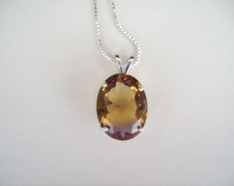 Purple Gold Ametrine Pendant large 20x15mm 925 Sterling Silvr with chain