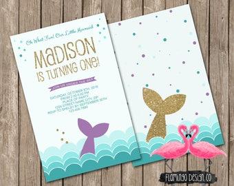 Mermaid Inspired Birthday Invitation (digital & card stock)