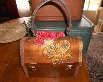 Decoupaged Box Purse w/Butterflies & Flowers