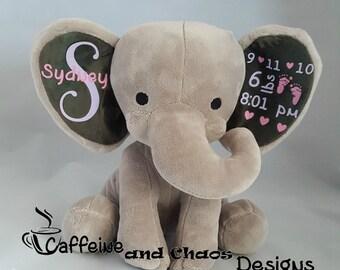 Personalized Plush Birth Stats Elephant, Birth Announcement Stuffed Animal, Custom Baby Gift