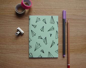 Screen Printed Paper Aeroplanes Handmade Blank Page Notebook - Notepad A6 - 20 Plain Pages (40 sides) - Green Cover
