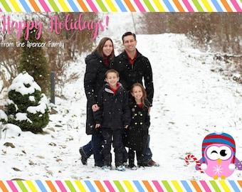 "Colorful Stripes Holiday Photo Card 5""x7"" Custom Digital Card"