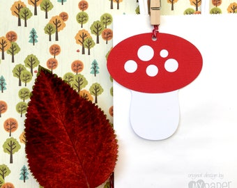 Mushroom Gift Tags. Red and White. Woodland Birthday party,  Baby shower favor tags. First birthday party. Fairy or pixie party.