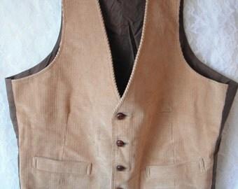 Vintage 70's Tan Corduroy Vest Men's Size M Beige Suit Waistcoat Sears & Roebuck