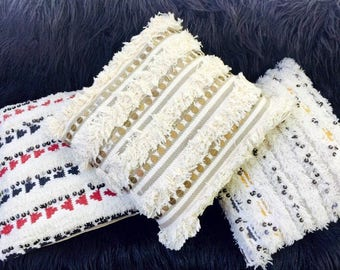 """Large 20"""" X 20"""" Moroccan Wool Wedding Pillows with Choice of Colors & Metal Charms."""