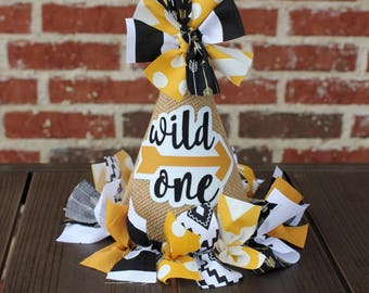 Black and Gold Wild One Arrow Fabric and Burlap Cake Smash, Photo Prop, Birthday Party Hat - Wild One Arrow Bday Party Hat - Wild One Party