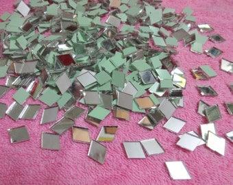 100 pcs Mirrors for Craft , Diamond Shaped Mirrors , Glass Mirrors, Shisha Mirrors, Mirror Embellishment - 9 to 10 mm