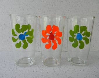 Set of 3 Tall Sour Cream Glasses, 1 Pint, Hazel Atlas, Flower Glass, Drinking Glass, Green and Blue, Orange and Red