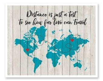 Long Distance Relationship, Personalized World Map, Miles, Kilometers, Deployment, Long Distance Boyfriend, Girlfriend, Best Friend, Family