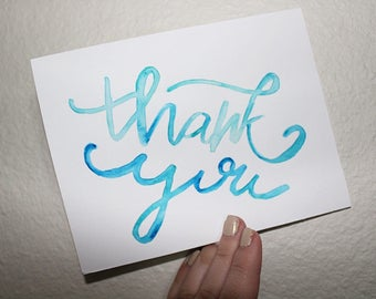 Handmade Watercolor Thank You Card