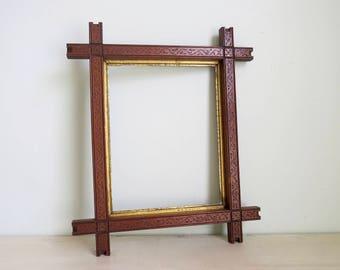 tramp art frames adirondack frame folk art frame vintage wood frame empty frames shabby chic frame vintage frame set vintage frames