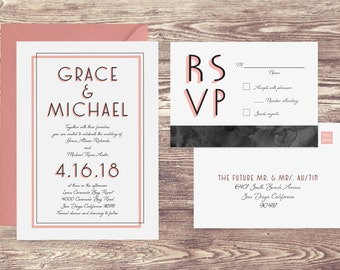 The Coronado Wedding Invitation and Postcard RSVP Set, Formal Wedding Invitations, Invitations for a Formal Wedding, Elegant Invitations