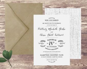 The Hampton Wedding Invitation and Postcard RSVP Set, Formal Wedding Invitations, Invitations for a Formal Wedding, Elegant Invitations