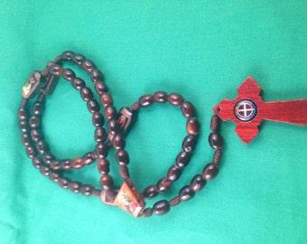 Saint Benedict wood rosary