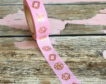 Pink with Rose Gold Foil Diamonds and Gems Washi Tape 15mm x 10m
