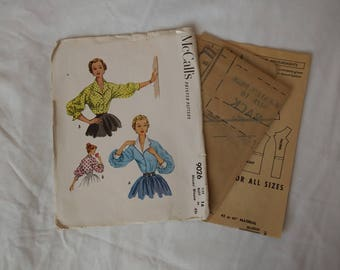 1950s McCalls #9026 Darted Blouse Sewing Pattern Size 34 Bust Complete