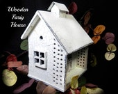 Fairy house , outdoor garden fairy home , white wood home . Miniature House,  Gnome Home, wooden fairy home,   # 19