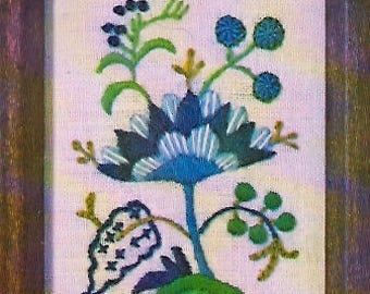 Blue Jacobean Flower crewel embroidery kit (Erica Wilson)