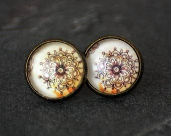 Boho earrings, 12 mm, flower, abstract