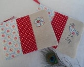 Handmade Cosmetic Makeup Bag or Large Purse with option to personalise Choice of Hen or Flower Applique Cath Kidston Provence Rose fabric