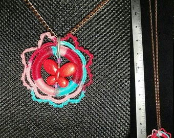 Tatted Necklace Pendant with Butterfly