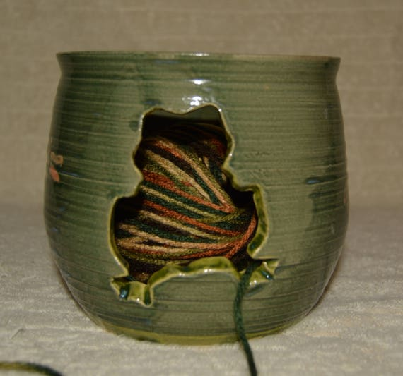 Frog, Yarn Bowl, Dragonflies,  Green, Lime Green, Orange, Yarn, Stoneware, Ceramic, Knitting, Crotchet, Craft Storage,