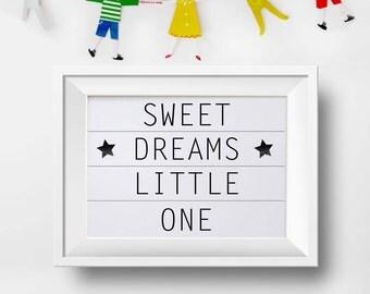 Scandinavian kids print, Cinema light box, Scandinavian nursery print, Monochrome nursery, Dream little one print, Playroom sign, Monochrome