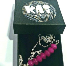 Fuchsia Pink Jade Gemstone on a Sterling Silver Chain or 18k Gold Filled Chain